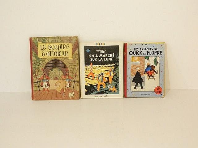 HERGÉ, REMI Georges dit (1907-1983), lot de 3 albums : Les Aventures de Tin