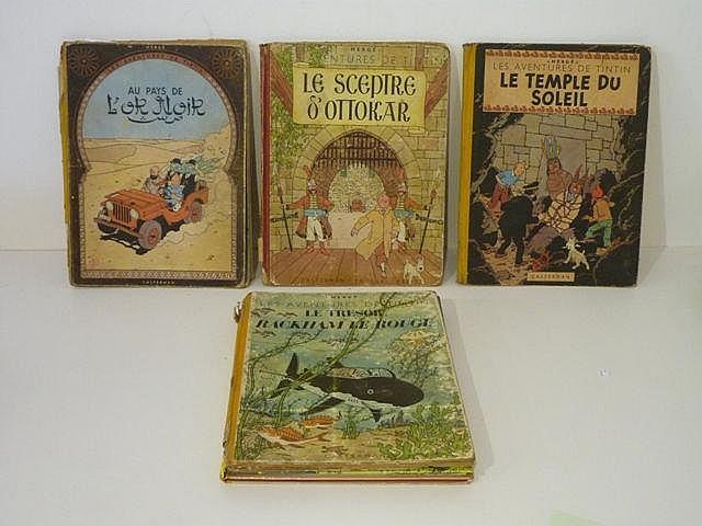 HERGÉ, REMI Georges dit (1907-1983), Les Aventures de Tintin, ensemble de 6