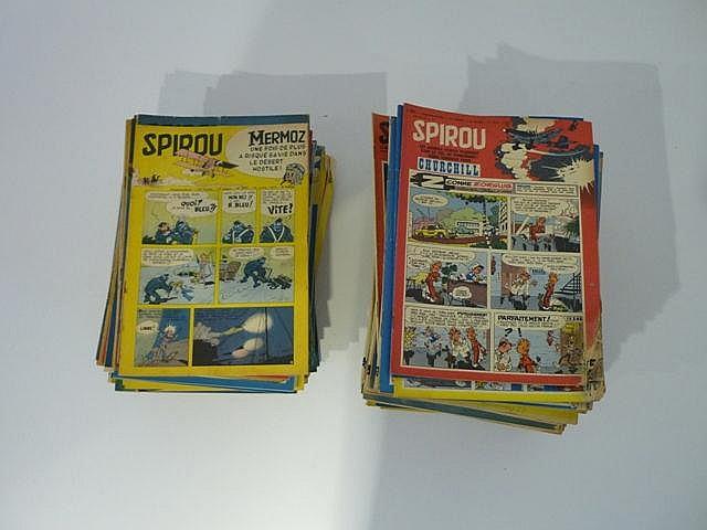 Important lot de journaux Spirou : numéros de 900 à 1299, années complètes