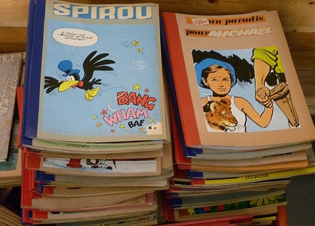 Ensemble de 215 reliures amateur reprenant des séries du journal Spirou [bo