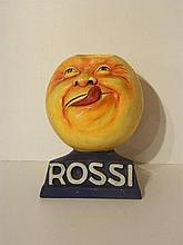 Mascotte publicitaire Rossi, XXe, plâtre peint, marquée et signée sur la te