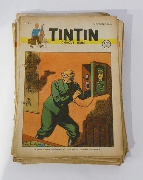 Ensemble de 42 fascicules Tintin : 13 de la première année (1946) ; 18 de l