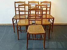 Suite de six chaises cannées, XIXe, bois, h. 87 cm, l. 39 cm.