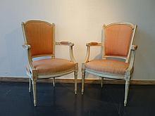 Paire de fauteuils en cabriolet de style Louis XVI, XXe, bois mouluré, scu
