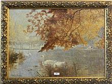 """PETIT Louis (1864-1937) """"Fontainebleau"""", 1936, huile sur toile, signée en b"""