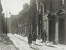 Unknown: Mother and Two Daughters Walking in Old Philadelphia, c. 1930, silver print, framed
