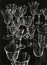 Adolf Lazi: Still life with glasses, ca. 1930s, vintage ferrotyped gelatin silver print