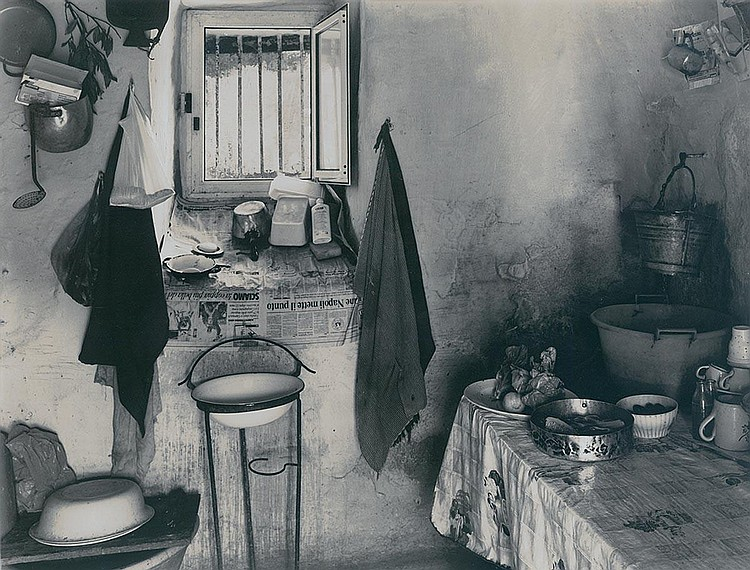 Linda Butler: Kitchen of a Trullo, Ceqlie Messapica, from Italy: In the Shadow of Time, 1995, selectively toned silver print, 9/25, signed verso, framed