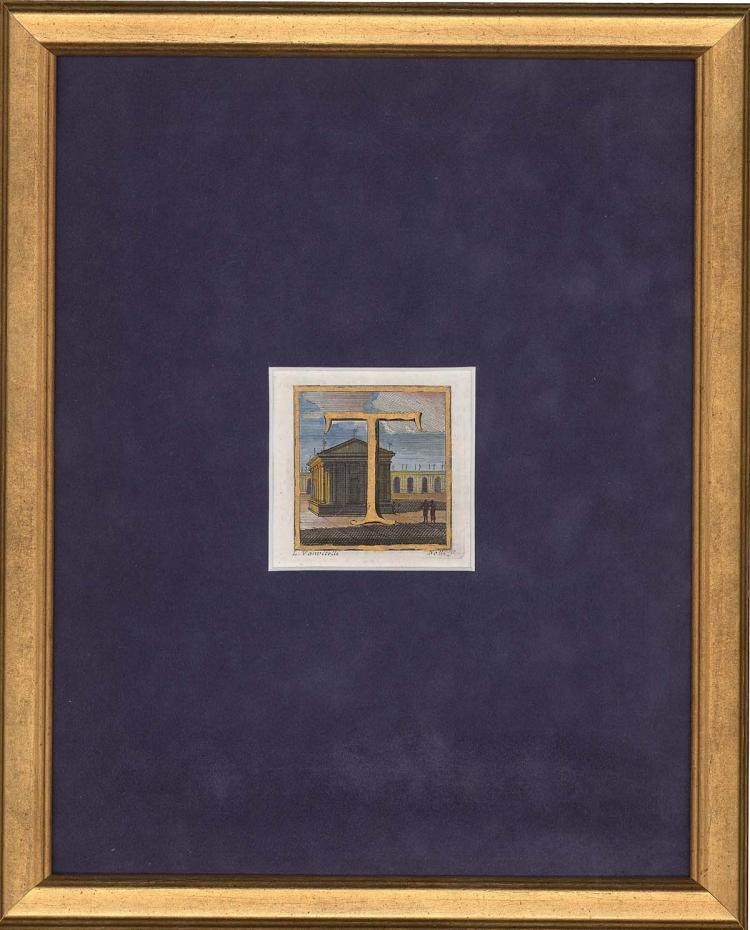 Letter T on Italian Landscape