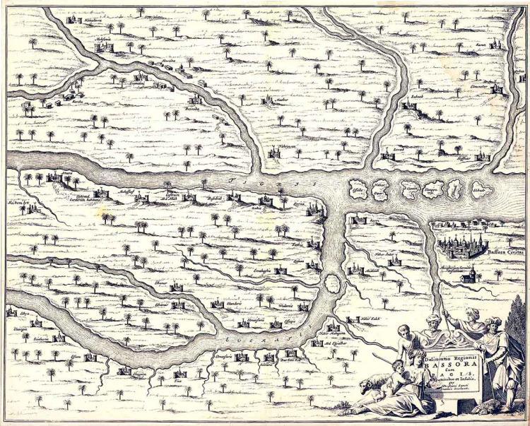 17th-C. Map of Baffora Civitas, Iraq