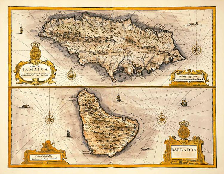 Map of Jamaica & Barbados