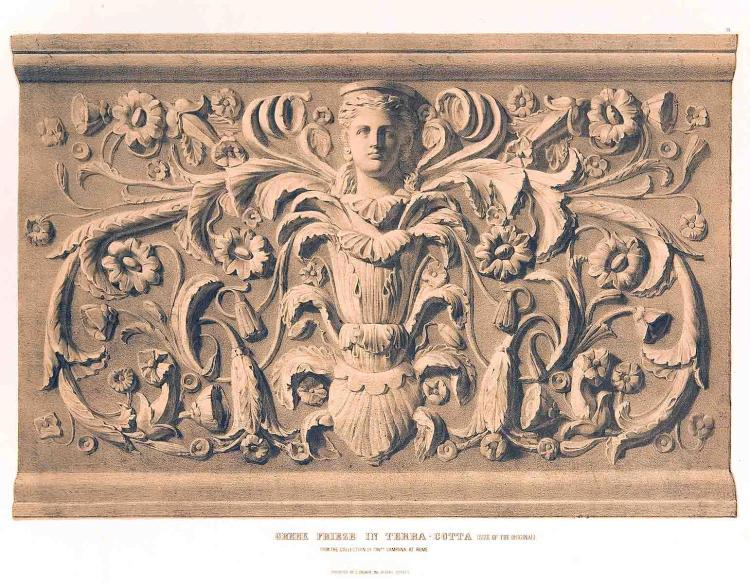19-c Lithograph of Greek Frieze