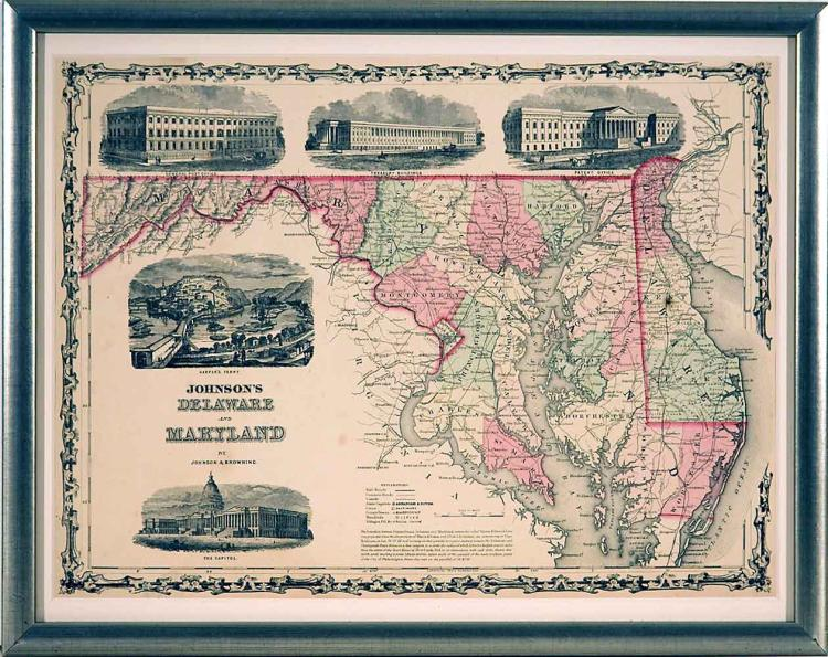 Framed 19 Century Map of Delaware & Maryland