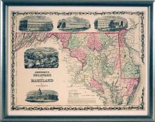 Framed 19 Century Map of Delaware & Maryland