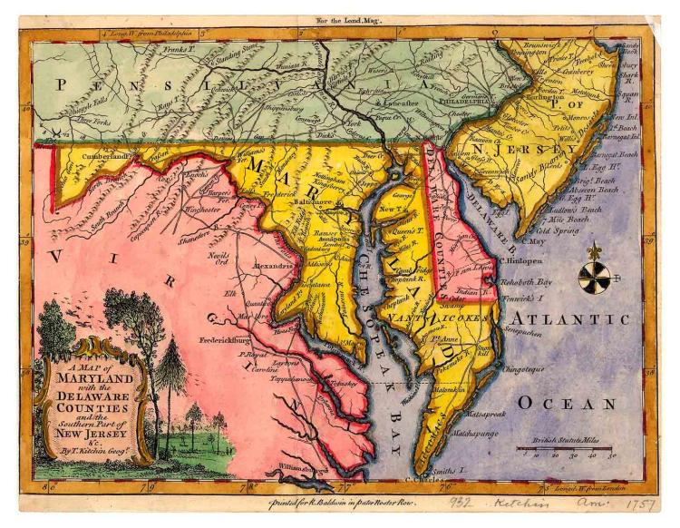 18th-C. Map of Maryland & Delaware
