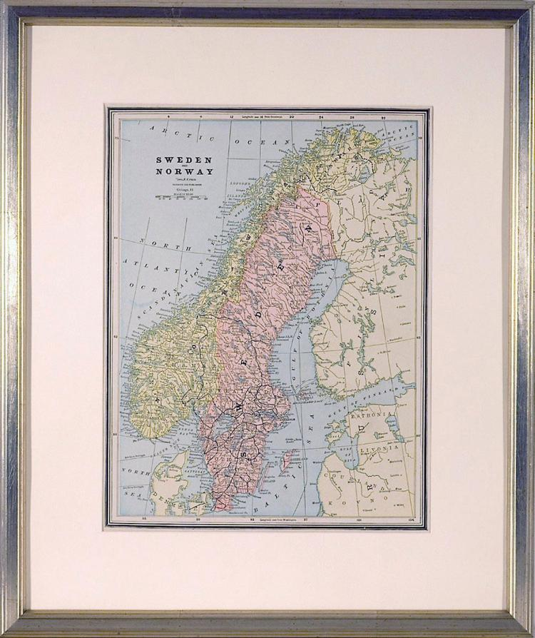 Map of Sweden & Norway, 1892