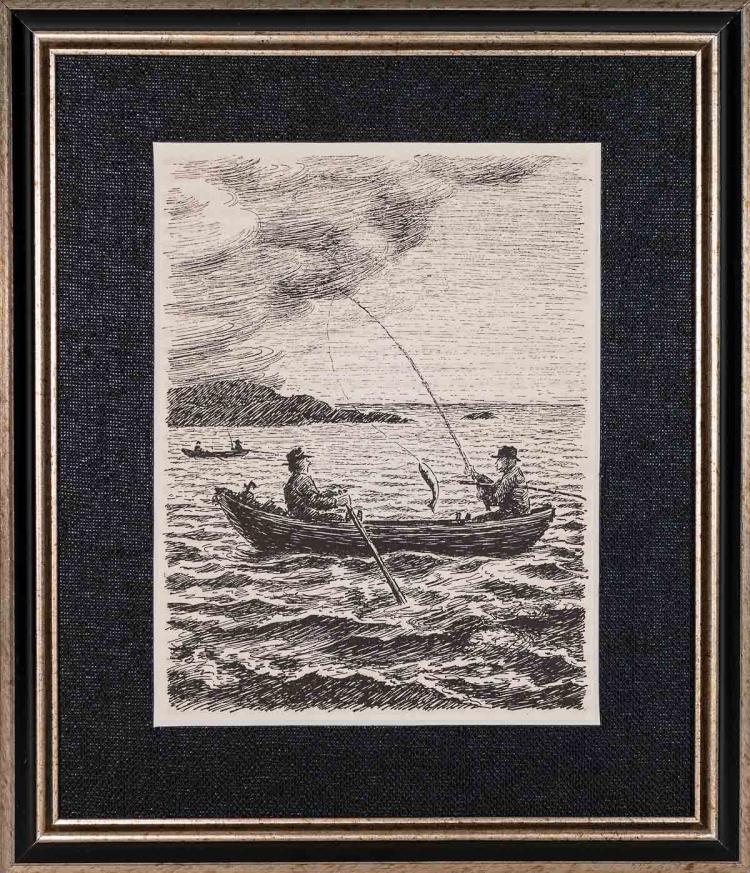 Two Men Fishing in a Boat