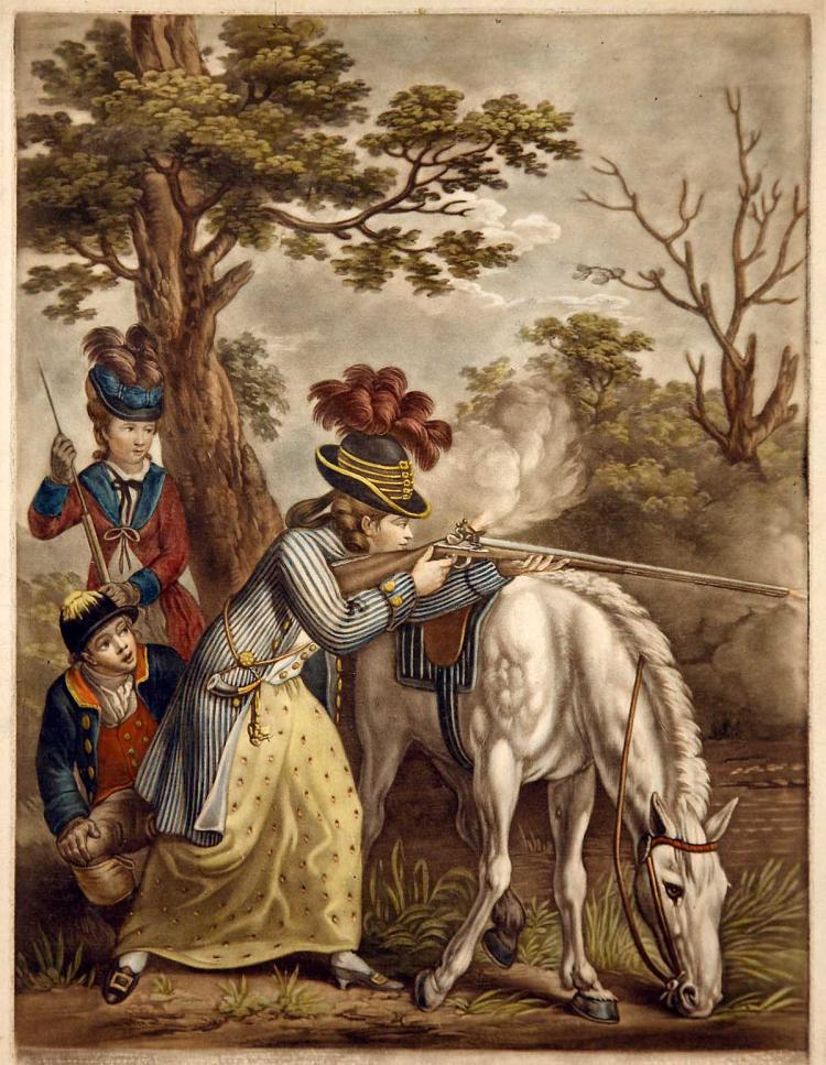 Aristocratic Woman Discharging Rifle