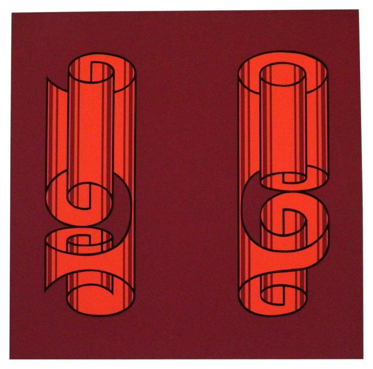 Red Scroll Design by Josef Albers
