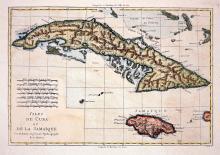 18c Map of Cuba & Jamaica