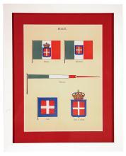Framed Italian Flags Pennants Coats Arms
