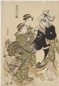 Estampes japonaises Kyionaga (1752-1815) Oban tate-e, trois jeunes femmes accompagnées d'un enfant