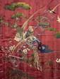 Grand panneau en soie rose à décor brodé d'oiseaux posés et survolant des branches fleuries et chargées de fruits, singes et insectes