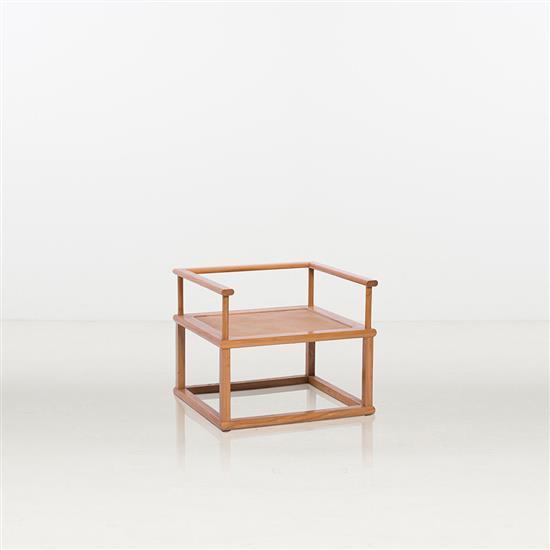 ƒ Chen Renyi Zen Chair Fauteuil Bois et cannage Pièce unique Date de création : 2012 H 77 × L 69 × P 64 cm