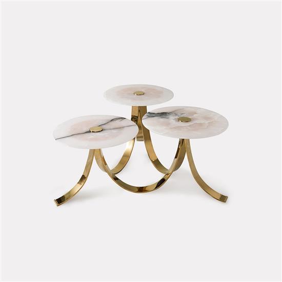 ƒ Design MVW Jin Shi Collection II Table basse Laiton et jade Pièce unique Date de création : 2013 H 50 × L 120 × P 12...