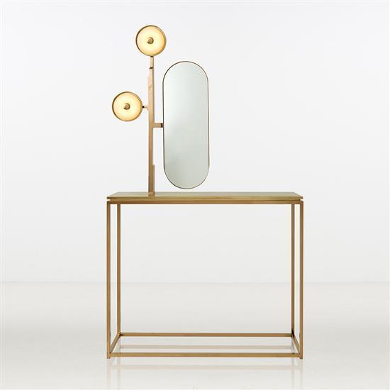 ƒ Design MVW Jin shi Collection II Console Laiton et jade Pièce unique Date de création : 2016 H 200 × L 110 × P 30 cm