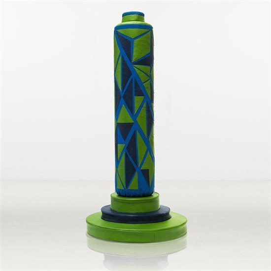 ƒ Lin Jing Boxing Column Sculpture avec système de son interactif Cuir Pièce unique Date de création :2015 H 230 × L 98...