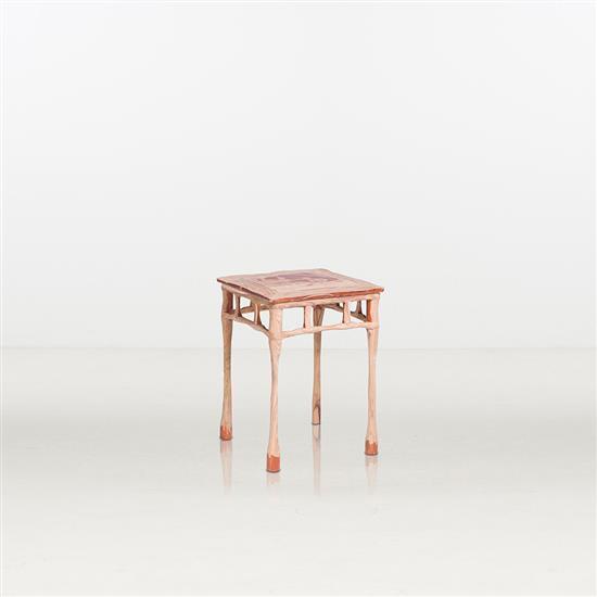 ƒ Shi Jinsong Table d'appoint Bois Huashan Project : Melt Pièce unique Date de création : 2014 H 66 × L 48 × P 48 cm