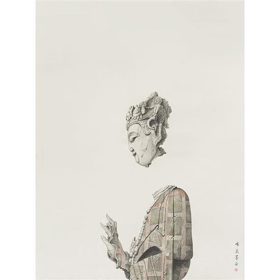 ƒ Shi Jianmin Buddha,  2015 Rouleau de soie Signé et estampillé 131 × 93 cm