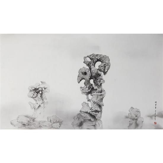 ƒ Shi Jianmin Yunfeng, 2006 Rouleau de soie Signé et estampillé 57 × 89 cm
