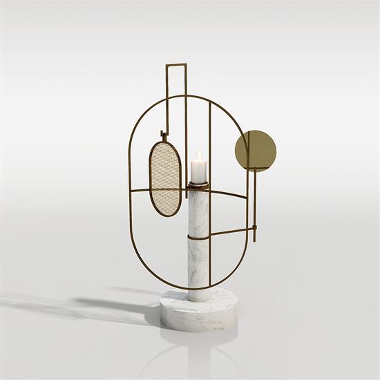 Neri & Hu The spectacle Bougeoir Bois, marbre et laiton Prototype Numéroté 1/8 Date de création : 2016 H 70 × L 35 × P...