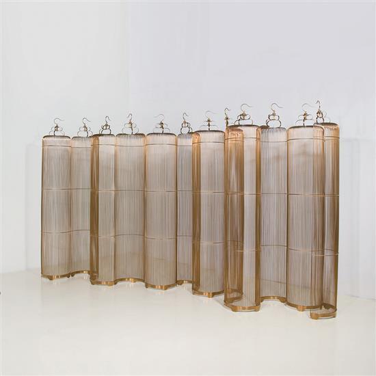 ƒ Liu Feng The Open Cage Paravent Métal plaqué et cuivre Édition limitée à 20 exemplaires Numéroté 1/20 Date de création...