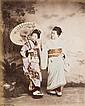 JAPON  Scènes de genre, paysages, portraits,  années 1880 Album contenant 50 épreuves d'époque sur papier albuminé rehaussées en cou..