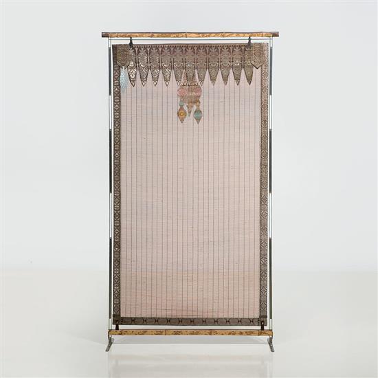 Lilou Grumbach-Marquand Écran Structure : acier et bambou tigré Panneau intérieur :