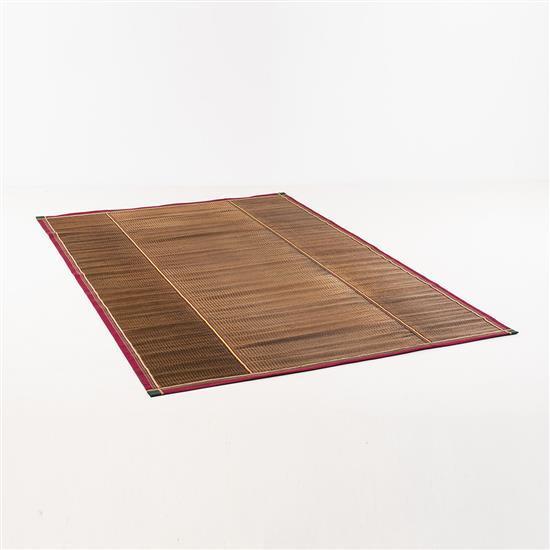 Lilou Grumbach-Marquand Tapis Fils de bambou tissés bordés de galons Signé Lilou M