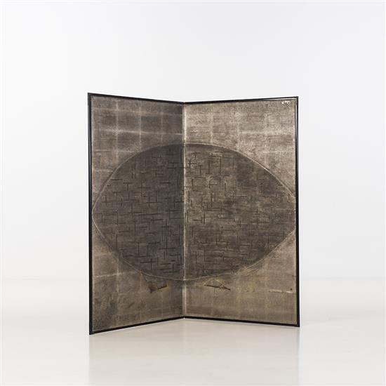 Lilou Grumbach-Marquand Paravent Paravent japonais du XVIIIe siècle, incrusté à la feuille d'argent et décoré d'une représentation l.
