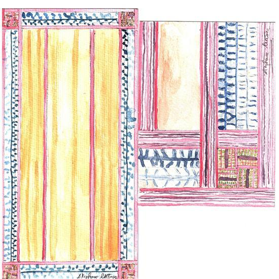 Lilou Grumbach-Marquand Tapis Gomme bordée de galons ethniques Signé Lilou M