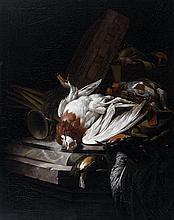 Attribué à Willem Van AELST (1627-1683) Nature morte aux oiseaux et objets de chasse