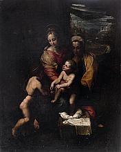 École ROMAINE du XVIe siècle, suiveur de Jules ROMAIN La Vierge à l'Enfant et sainte Anne et saint Jean- Baptiste Toile marouflée su...