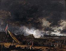 Egbert van der POEL (Delft 1621-Rotterdam 1664) Un campement de soldat devant une ville assiégée Panneau de chêne, trois planches, n...