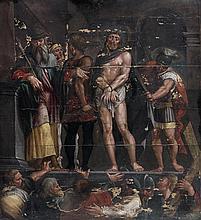 Hans BOCK (Saverne vers 1550-Bâle 1623) Ecce Homo Panneau de chêne, trois planches, renforcé 71,5 x 64 cm Signé et daté en bas à gau...