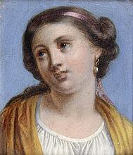 École ROMAINE vers 1650 Jeune femme à la perle baroque