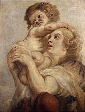 École FLAMANDE du XVIIe siècle, atelier de Pierre Paul RUBENS Une mère et son enfant