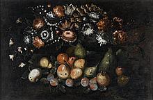 École NAPOLITAINE du XVIIIe siècle Nature morte de fruits et de fleurs