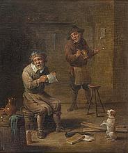 École FLAMANDE du XVIIIe siècle, suiveur de David TENIERS La Lecture de la gazette