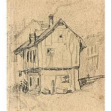 Louis Adolphe Hervier (Paris 1818-1879) Personnages devant une chaumière Crayon noir 16,5 × 14,5 cm (Pliures et quelques rou...